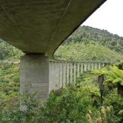 The new concrete viaduct with the old steel one in the background.