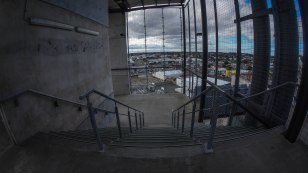 Steps down to the stadium grounds