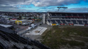 """View of the pitch and old """"Hadlee Stand"""""""
