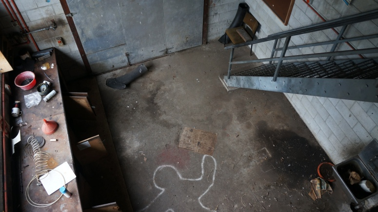 Workshop, with a murder chalk scene?